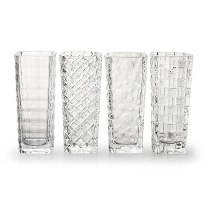 Vase 'cult' 4-ass. h15,5 d6,5 cm