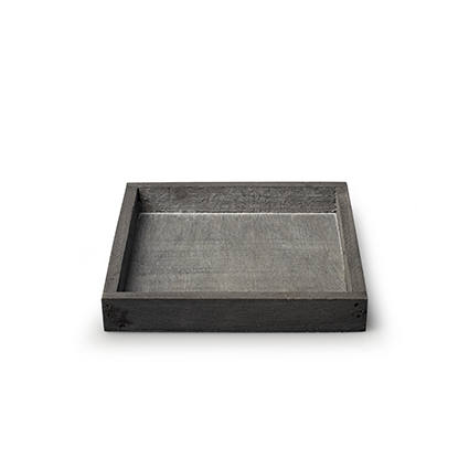 Wooden tray 'inyo' grey 14x14x2 cm
