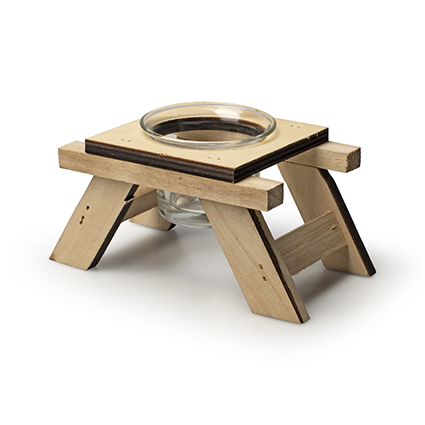 Houten TLH 'picknick' h6,5/7,5 d11,5x8 cm