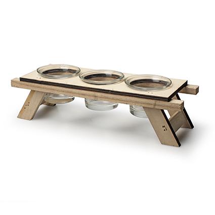 Houten TLH 'picknick' h6,5/7,5 d25,5x8 cm