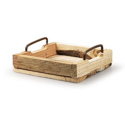 Wooden tray 'arlette' square h6 d20x20