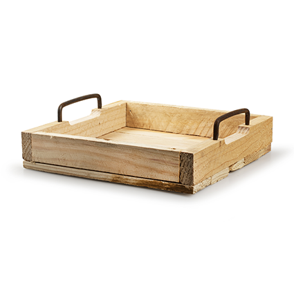Wooden tray 'arlette' square h6 d25x25