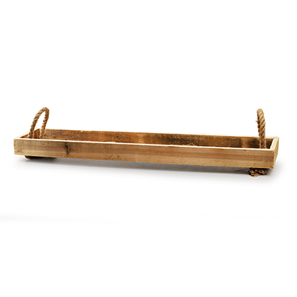 Wooden tray with rope 'guetta' h5 d80x16