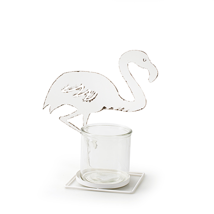 Metalen frame 'flamingo' wit h25,5 d23 cm