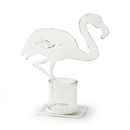 Metalen frame 'flamingo' wit h33,5 d30 cm