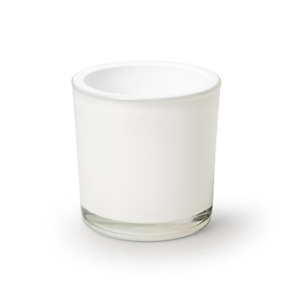 Cylinder 'heavy' white h10 d10 cm