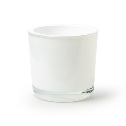 Cylinder 'heavy' white h12 d12 cm