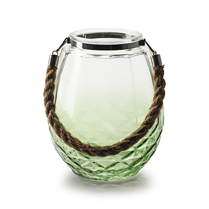 Lantaarn 'oceane' zacht groen h18 d14 cm