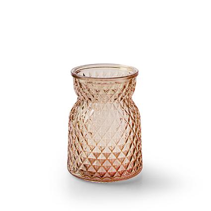 Bottle vase 'posh' coral red h10,5 d7,5