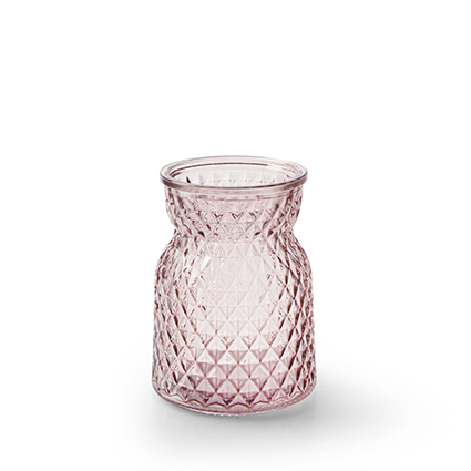 Flesvaas 'posh' zacht roze h10,5 d7,5 cm