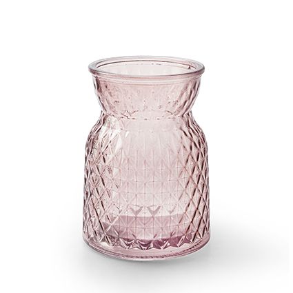 Flesvaas 'posh' zacht roze h13,5 d10 cm