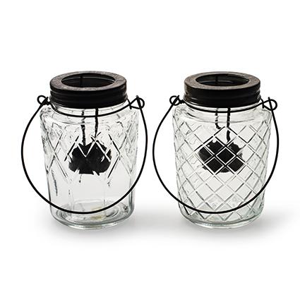 Lantern 'trinity' 2-ass. h13 d9,5 cm