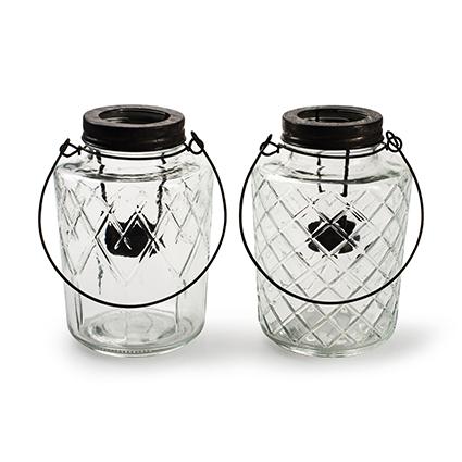 Lantern 'trinity' 2-ass. h16 d11,5 cm