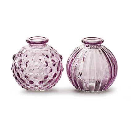 Bolvaasje 'jive' zacht roze 2-ass. h8,5 d8,5 cm
