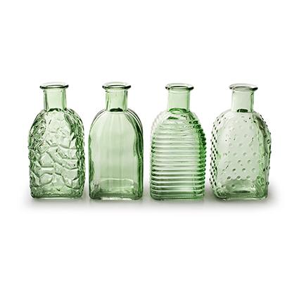 Flesvaas 'frida' lente groen 4-ass. h13,5 d6,5 cm