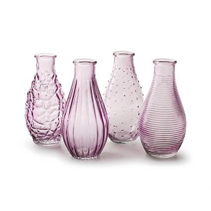 Bottle 'decor' soft pink 4-ass. h14 d7cm