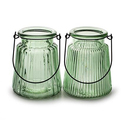 Vaas 'isabella' lente groen 2-ass. h12 d10 cm