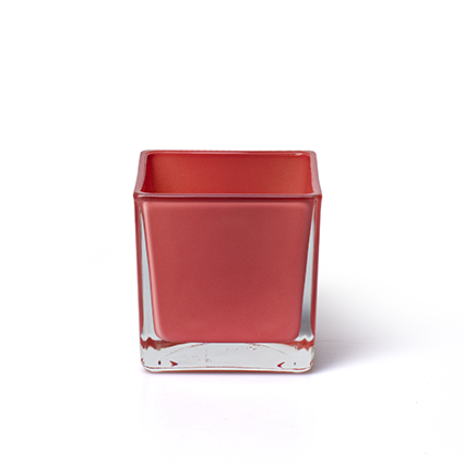 Cube 'piazza' coral red 8x8x8 cm