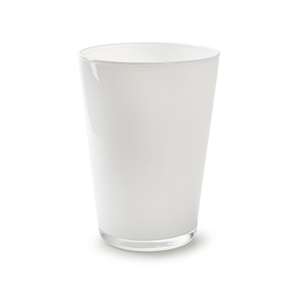 Conical vase 'kick' white cover h20 d14