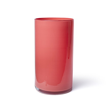 Cylinder 'arthur' coral red cover h30 d16