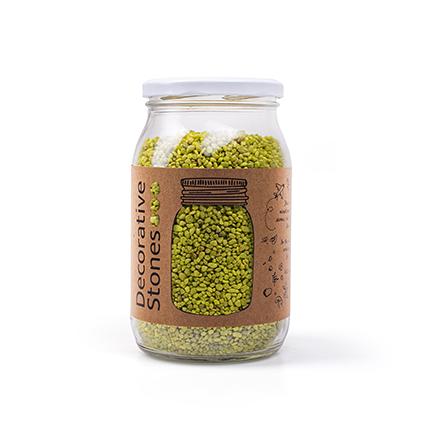 Pot ca 1200 gram deco granulaat lime groen