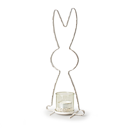 Metal frame+glass 'rabbit' h42 d17 cm