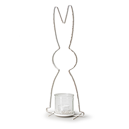 Metalen frame+ glas 'konijn' h54 d21 cm