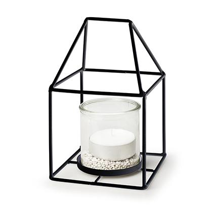 Metalen huis zwart + 1x cilinder h12/20 d12x12 cm