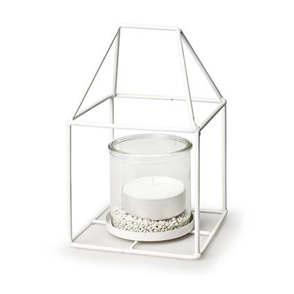 Metalen huis wit + 1x cilinder h12/20 d12x12 cm
