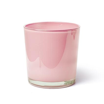 Konische vaas 'monaco' roze cover h13 d12,5 cm