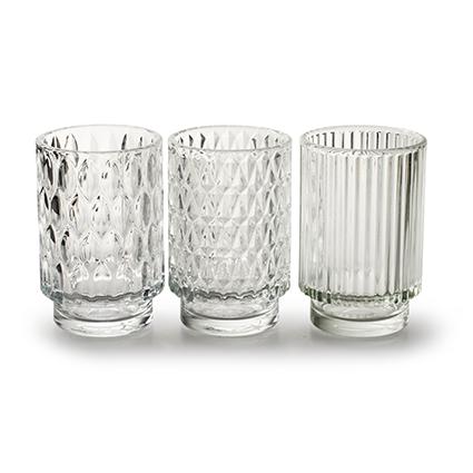 Vase 'taisie' 3-ass. h13 d8,5 cm