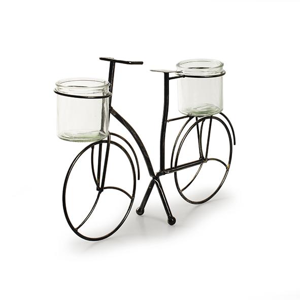 Metaal+glas 'fiets' S h26 d40x9 cm
