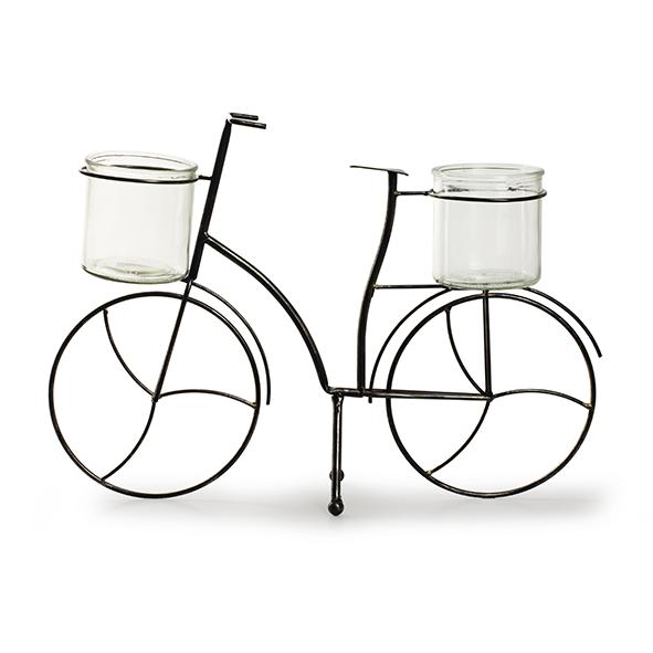 Metaal+glas 'fiets' M h35 d50x12 cm