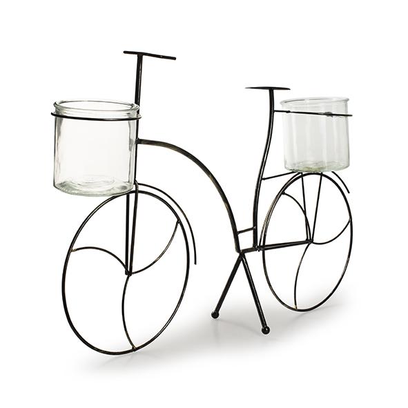 Metaal+glas 'fiets' L h45 d68x15 cm
