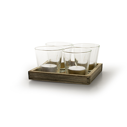 Wooden tray with glas nature 14x14 cm
