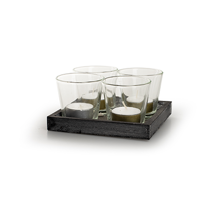 Wooden tray with glas grey 14x14 cm