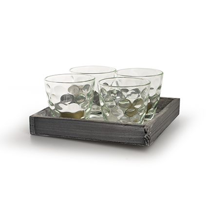 Wooden tray with glas nature 18x18 cm
