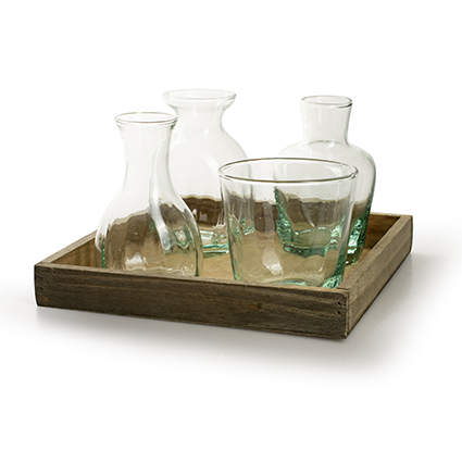 Wooden tray with mix glas nature 20x20