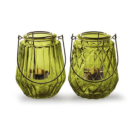 Lantaarn met gouden inzet 2-ass 'isabo' groen h13