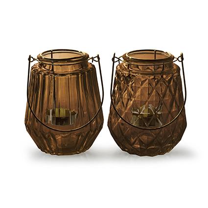 Lantaarn met gouden inzet 2-ass 'isabo' bruin h13