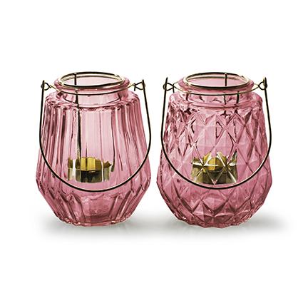 Lantaarn met gouden inzet 'isabo' roze h13 d11 cm