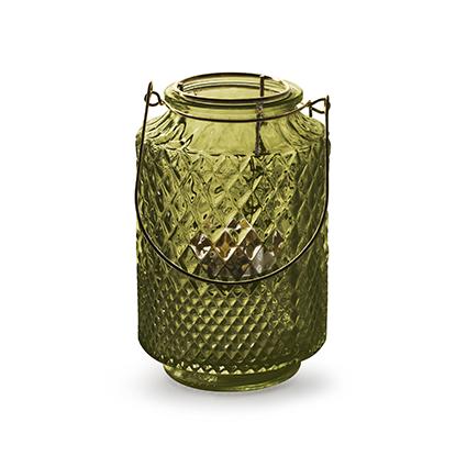 Lantaarn met inzet 'dubio' groen h14,5 d9,5 cm