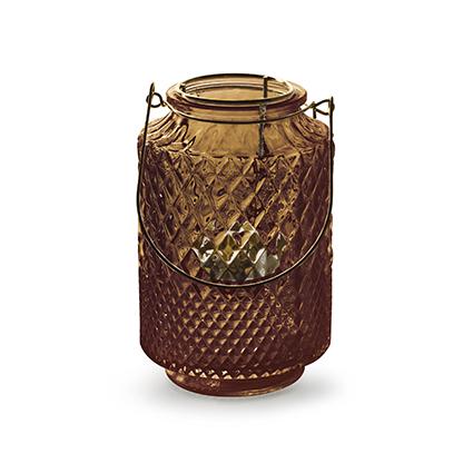 Lantaarn met inzet 'dubio' bruin h14,5 d9,5 cm