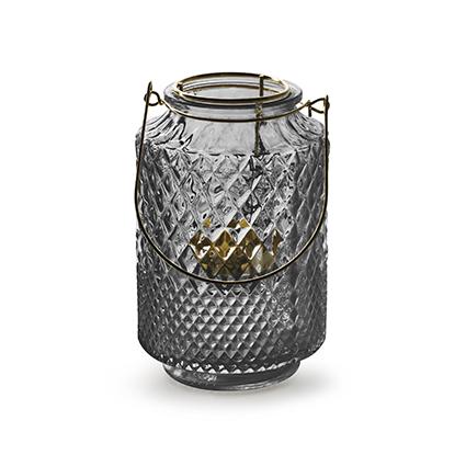 Lantaarn met inzet 'dubio' smoke h14,5 d9,5 cm