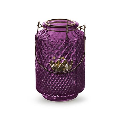 Lantaarn met inzet 'dubio' paars h14,5 d9,5 cm