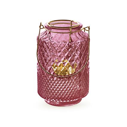 Lantaarn met inzet 'dubio' roze h14,5 d9,5 cm