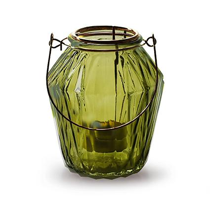 Lantaarn met inzet 'block' S groen h11 d9,5 cm