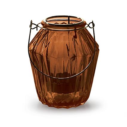 Lantaarn met inzet 'block' S bruin h11 d9,5 cm