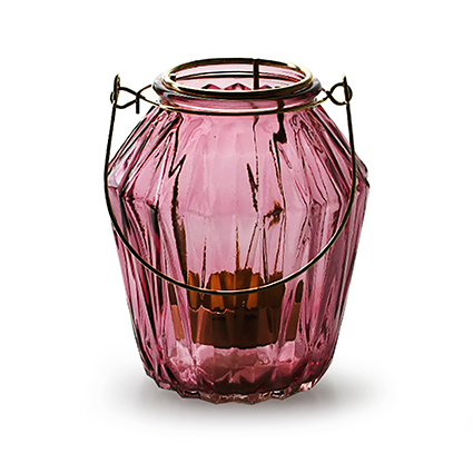 Lantern with insert 'block' S pink h11 d9,5