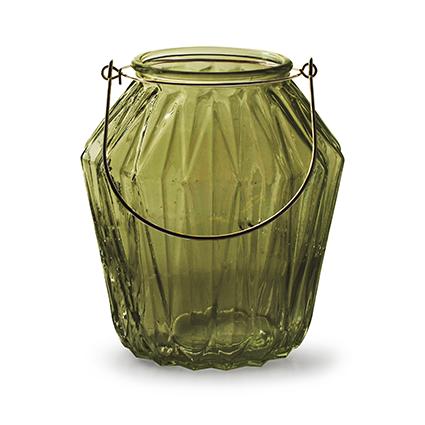 Lantaarn met inzet 'block' M groen h15 d13,5 cm